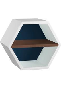 Nicho Hexagonal Favo Ii Com Prateleira Branco Com Azul Noite E Marrom Escuro