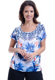 Blusa 101 Resort Wear Tunica Ampla Crepe Renda Estampada Folhas Azul