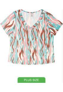 Blusa Plus Size Com Decote V Rosa