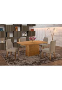 Conjunto De Mesa De Jantar Com 6 Cadeiras E Tampo De Madeira Maciça Arezo I Suede Imbuia Rustic E Cinza