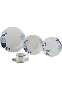 Aparelho De Jantar Lyor 20 Peças De Porcelana Classic Branco/Azul - Kanui