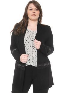 Maxi Cardigan Secret Glam Plus Size Recortes Preto