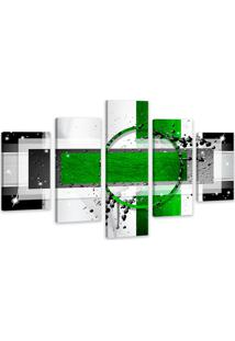 Quadro Oppen House 75X125Cm Abstrato Verde Decorativo Interiores Luxo