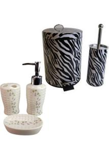 Kit Para Banheiro Com Lixeira Saboneteira Porta Escova - Deca R04