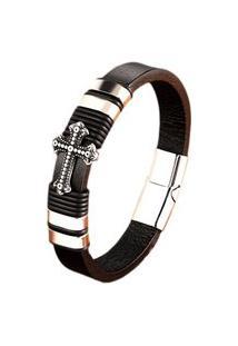 Pulseira Masculina Bracelete Em Couro Artestore Preto Com Aço Cruz