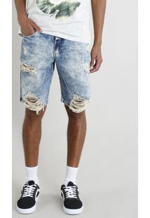 Bermuda Jeans Masculina Destroyed Marmorizada Azul Médio