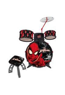 Bateria Musical Infantil Toyng Homem Aranha Com 1 Banquinho E Acessórios