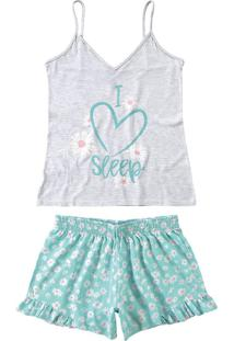 Pijama Curto Estampado Babados Malwee Liberta