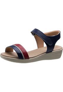 Sandália Anabela Esporão Doctor Shoes 180 Marinho/Vinho - Kanui