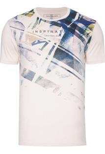 Camiseta Masculina Faixas Diagonais - Rosa Claro
