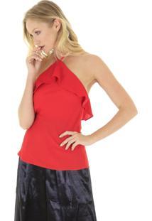 Blusa Frente Única Com Babados Lisa Preta - Vermelha