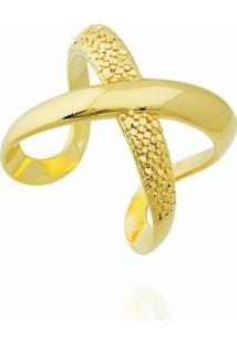 Anel X Semi Joia Dourado - Feminino-Dourado