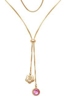 Gargantilha Prata Mil Gravatinha C/ Flor Camélia E Red P/ Pedra Chaton Dourado