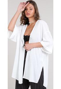 Kimono Feminino Texturizado Com Fendas Branco