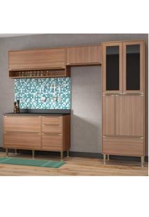 Cozinha Completa Balcão Com Tampo E Paneleiro Vidro 5 Módulos 8 Portas Madrid Siena Móveis Nogueira