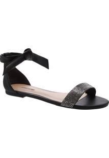Sandália Nó Minimal Glam Preta | Anacapri