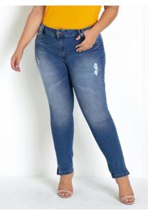 Calça Sawary Plus Size Jeans Com Strass