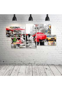Quadro Decorativo - City-Red-Umbrella - Composto De 5 Quadros - Multicolorido - Dafiti