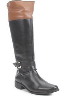 Bota Montaria Shoestock Couro Fivela Feminina - Feminino-Preto+Caramelo