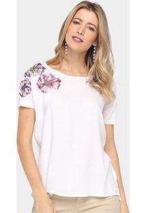 Camiseta Colcci Floral Alongada Feminina - Feminino-Off White