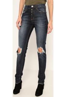 Jeans High Skinny Long Sines- Azul Escuro- John Johnjohn John