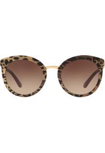 a5e02aa28a221 ... Óculos Dolce   Gabbana Dg4268 315513 Estampado Onça Ouro Lente Marrom  Degradê Tam 52