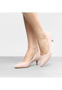 Scarpin Couro Shoestock Salto Médio Básico - Feminino-Nude