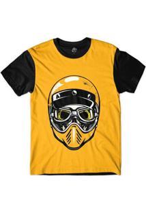 Camiseta Bsc Caveira De Capacete E Óculos Masculina - Masculino-Amarelo