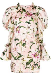 Dolce & Gabbana Vestido Com Estampa Floral E Mangas Bufantes - Rosa
