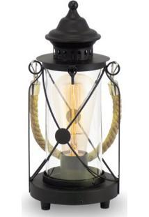 Abajur Aço Preto / Vidro Transparente 1 X 40W E27