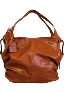 Bolsa Line Store Leather Mal㺠Couro Whisky Rãºstico. - Caramelo/Marrom - Feminino - Dafiti