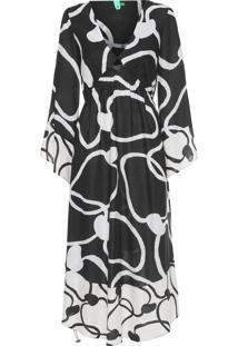 Vestido Cropped Maxi Caju - Preto