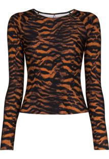 The Upside Blusa Imogen Com Estampa De Tigre - Marrom