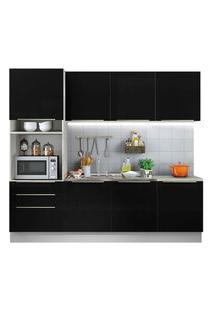 Cozinha Completa Madesa Lux Com Armário E Balcão 7 Portas 3 Gavetas Branco/Preto Cor:Branco/Preto
