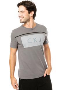 Camiseta Calvin Klein Jeans Estampa Cinza