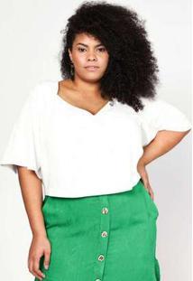 Blusa Almaria Plus Size Pianeta Cropped Off White Branco