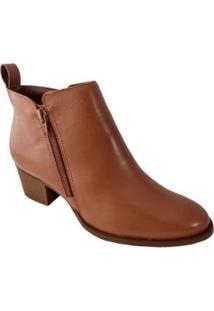 Bota Couro Sapatoweb Cano Baixo Feminina - Feminino-Caramelo