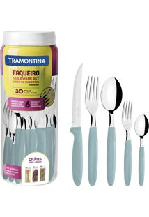 Faqueiro Tramontina 23398288 Ipanema Aço Inox 30 Peças Azul Claro