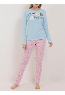 Pijama Mundo Do Sono Longo Feminino - Feminino-Azul+Rosa