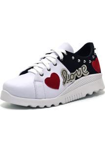 Tênis Flor Da Pele Love Heart Branco Preto