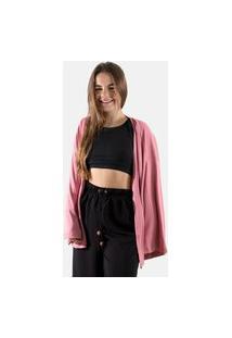 Kimono Feminino Cardigan Verão Liso Estilo Modinha Conforto Rlc Modas Rosa