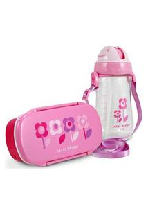 Conjunto Pote Para Lanche E Squeeze Infantil Sapeka Menina Jacki Design Floral Rosa
