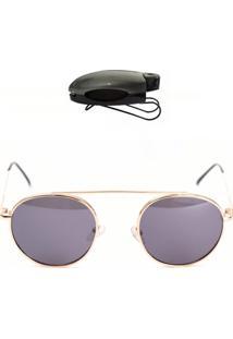 Óculos Aviador De Sol Com Brinde Selten Preto Com Dourado