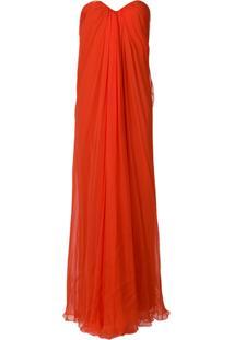 Alexander Mcqueen Draped Bustier Evening Dress - Amarelo E Laranja