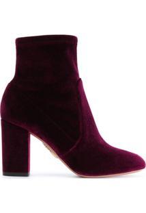 Aquazzura Ankle Boot De Couro E Veludo 'Brooklyn' - Rosa