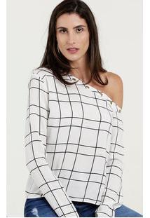 Blusa Feminina Estampa Quadriculada Manga Longa