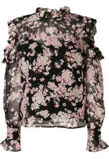 Twin-Set Cut-Off Shoulder Floral Blouse - Preto