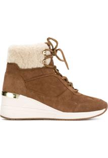 Michael Michael Kors Shearling Trim Ankle Boots - Marrom
