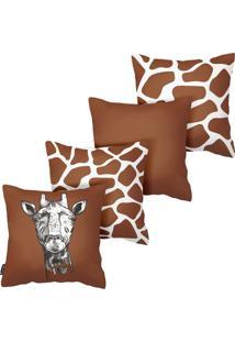 Kit Com 4 Capas Para Almofadas De Girafas Armonizzi Store
