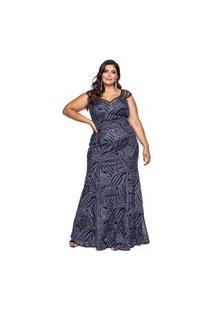 Vestido Almaria Plus Size Pianeta Tule Azul Marinho